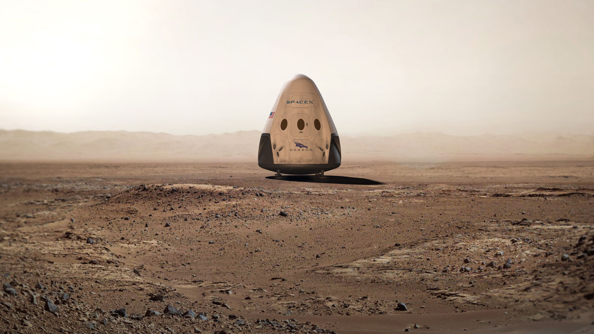Red Dragon spacecraft on the surface of Mars image credit SpaceX