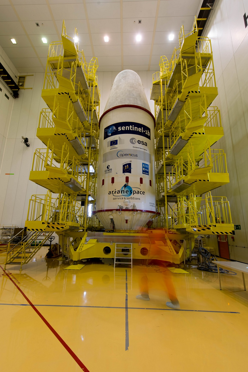 Soyuz VS14 upper composite in the S3B preparation building in preparation for the Apr. 22 launch.