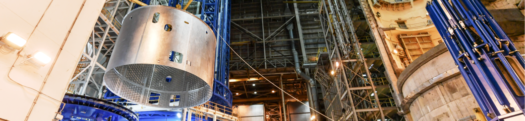 Space Launch System SLS engine section at Michoud Assembly Facility NASA photo posted on SpaceFlight Insider