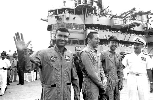 The crew of Apollo 13 after their successful return to Earth NASA photo posted on SpaceFlight Insider