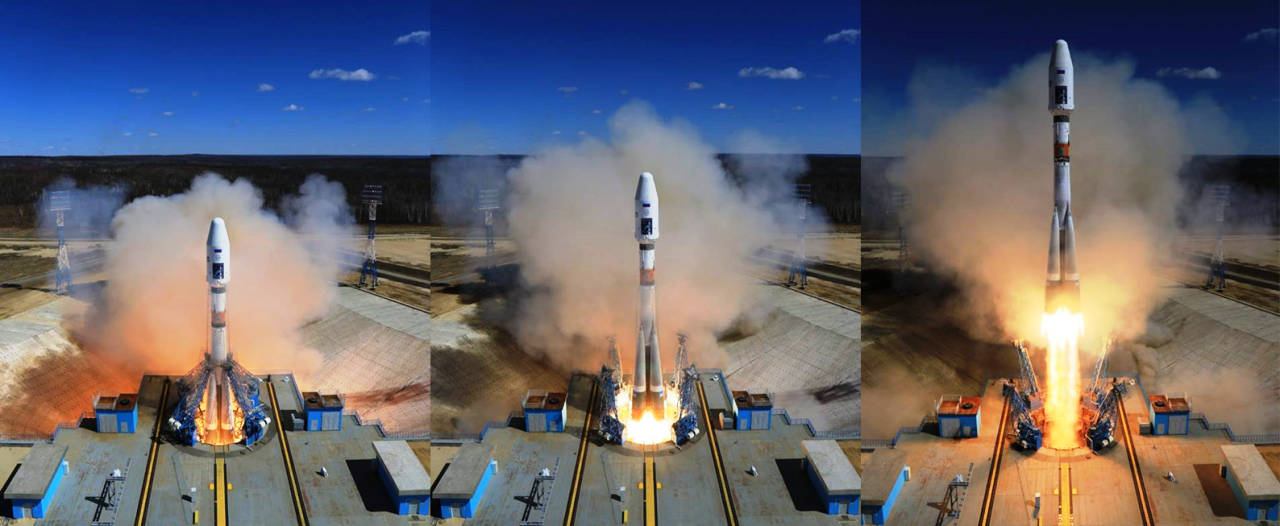 first Soyuz rocket launch with Mikhailo Lomonosov spacecraft from Vostochny Russia Roscosmos image posted on SpaceFlight Insider