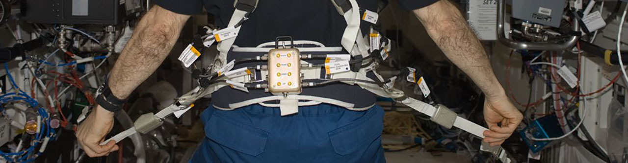 New Glenn Harness - The harness was developed by researchers in the Human Research Program's Exercise Countermeasures Project to improve the comfort and loading for crewmembers. The weight-bearing exercise afforded by treadmill running on the ISS is thought to be crucial for effective gravitational loading of the musculoskeletal system and for bone health in space. NASA photo posted on SpaceFlight Insider
