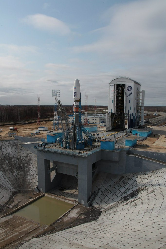 Soyuz-2.1a rocket awaits its launch at the Vostochny Cosmodrome.