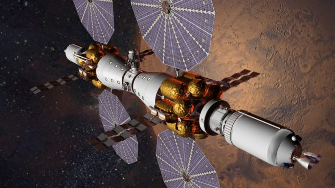 Lockheed Martin proposes utilizing the Space Launch System rocket as well as the Orion spacecraft, Solar Electric Propulsion, and space habitats to send six people to Mars orbit by 2028. There, they will be able to conduct telerobotics from orbit, explore the Red Planet's moons and more. Image Credit: Lockheed Martin
