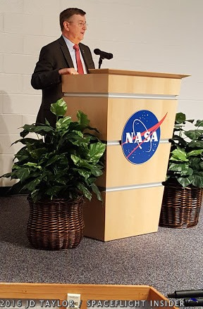 Orbital ATK's Frank Culbertson addresses those attending Tuesday's event at WFF. Photo Credit: JD Taylor / SpaceFlight Insider