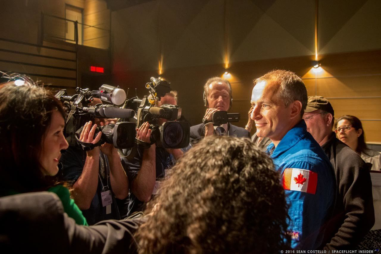 Canadian Space Agency astronaut David Saint-Jacques proudly takes questions from the media following his assignment to fly to the International Space Station as a part of Expedition 58/59, scheduled to launch in November 2018. Photo Credit: Sean Costello / SpaceFlight Insider