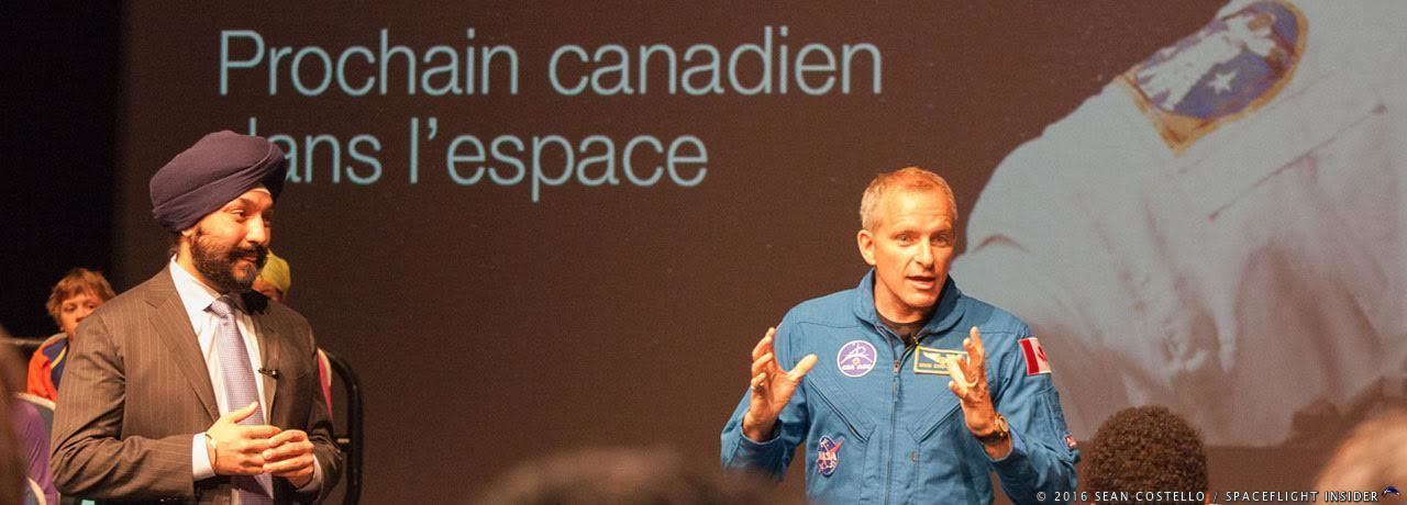 Canadian astronaut David Saint-Jacques, right, speaks with students from Ottawa's Pierre Elliot Trudeau Elementary School following the announcement of his upcoming mission by Canada's Minister of Innovation, Science and Economic Development, the Honourable Navdeep Bains. Photo Credit: Sean Costello / SpaceFlight Insider