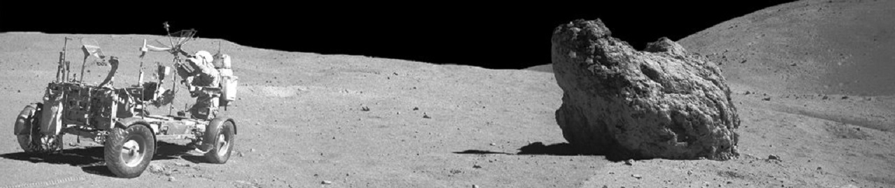 Apollo 16 lunar rover with commander John Young. NASA photo posted on SpaceFlight Insider