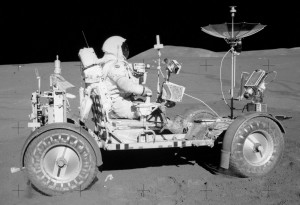 The Apollo 15 lunar rover in the Hadley Rille region of the Moon. Photo Credit: NASA