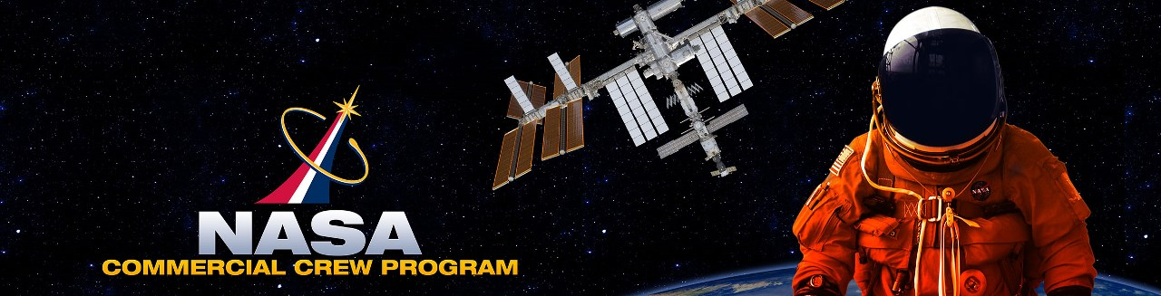 NASA Commercial Crew Program banner with International Space Station and astronaut NASA image posted on SpaceFlight Insider
