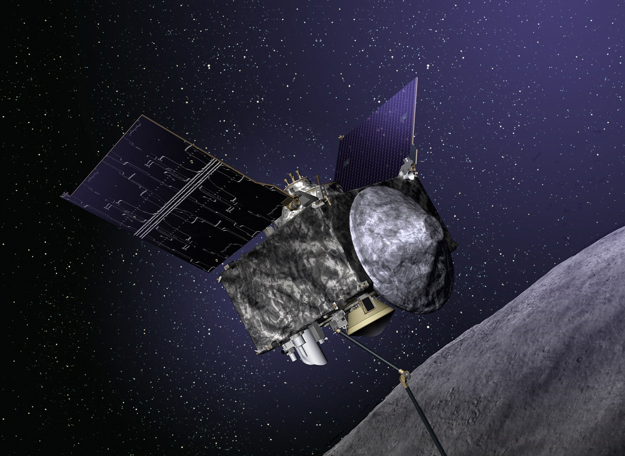 Illustration of OSIRIS-REx spacecraft at Bennu. Image Credit: Lockheed Martin