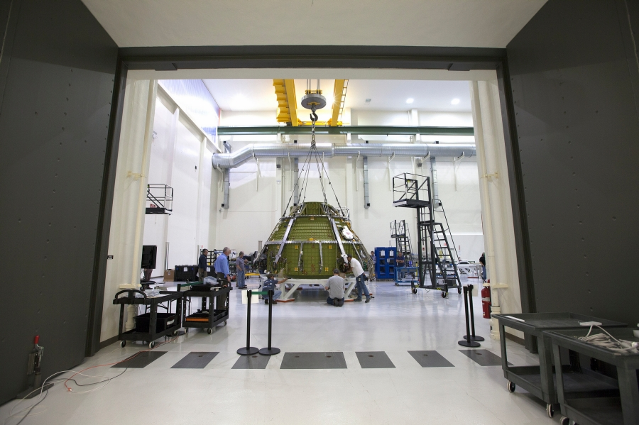 Orion spacecraft at NASA's Kennedy Space Center in Florida. Photo Credit Lockheed Martin posted on SpaceFlight Insider
