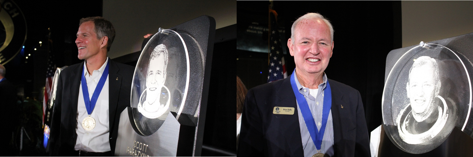Former NASA astronauts Scott Parazynski (left) and Brian Duffy (right) were inducted into the U.S. Astronaut Hall of Fame on Saturday, May 14. Photo Credit: Jason Rhian / SpaceFlight Insider