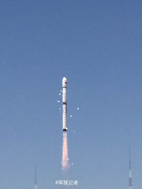 China's Long March 4B rocket launches Ziyuan-3 No. 2 and two ÑuSat satellites into space.