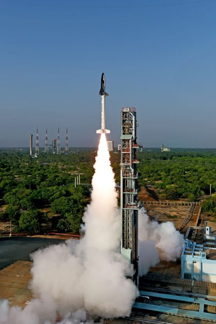 The Reusable Launch Vehicle-Technology Demonstrator (RLV-TD) lifts off from the First Launch Pad at Satish Dhawan Space Centre, Sriharikota atop an HS9 solid rocket booster.