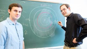 Sean Mills (left) and Daniel Fabrycky (right), researchers at the University of Chicago, describe the complex orbital structure of the Kepler-223 system in a new study. Photo Credit: Nancy Wong/University of Chicago