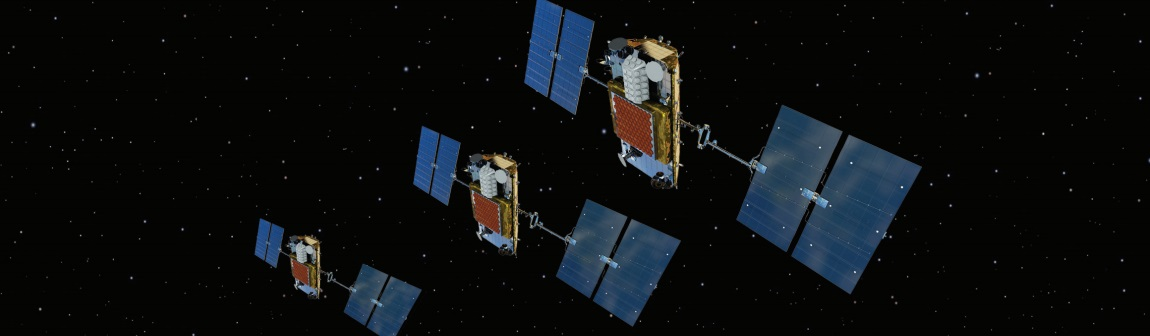 Artist's rendering of Iridium's NEXT satellites in space.
