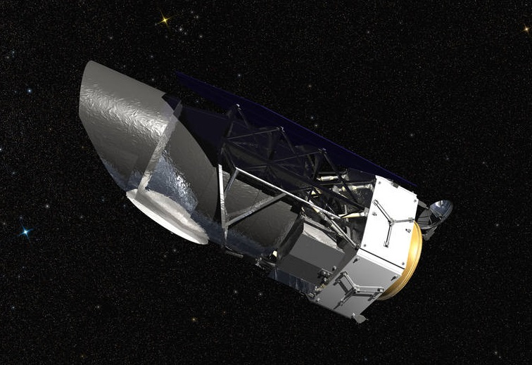 An artist's rendering of NASA's Wide Field Infrared Survey Telescope (WFIRST).