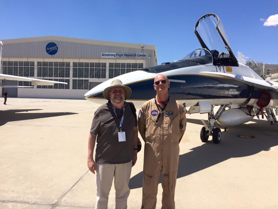 Chief NASA Armstrong Test Pilot Nils Larson (right) in front of the F/A-18 aircraft he flew during the sonic boom demonstration. Photo Credit: Jim Sharkey/ SpaceFlight Insider