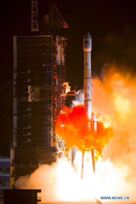 A Long March 3C rocket launches with the BeiDou-2 Compass G7 satellite on June 12.