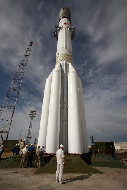 Proton-M rocket stands tall on the launch pad at the Baikonur Cosmodrome, awaiting its June 8 launch.