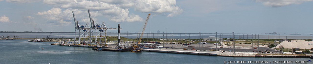 The Falcon 9 first stage is securely docked at Port Canaveral. The journey back from the landing zone, some 400 downrange, took over five days, including over a day loitering just offshore from Cocoa Beach, Florida. Photo Credit: Derek Richardson / SpaceFlight Insider