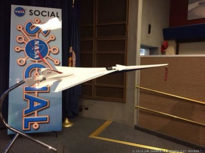 A 1/20 scale model of Quiet Supersonic Technology (QueSST) demonstrator plane. Photo Credit: SpaceFlight Insider / Jim Sharkey