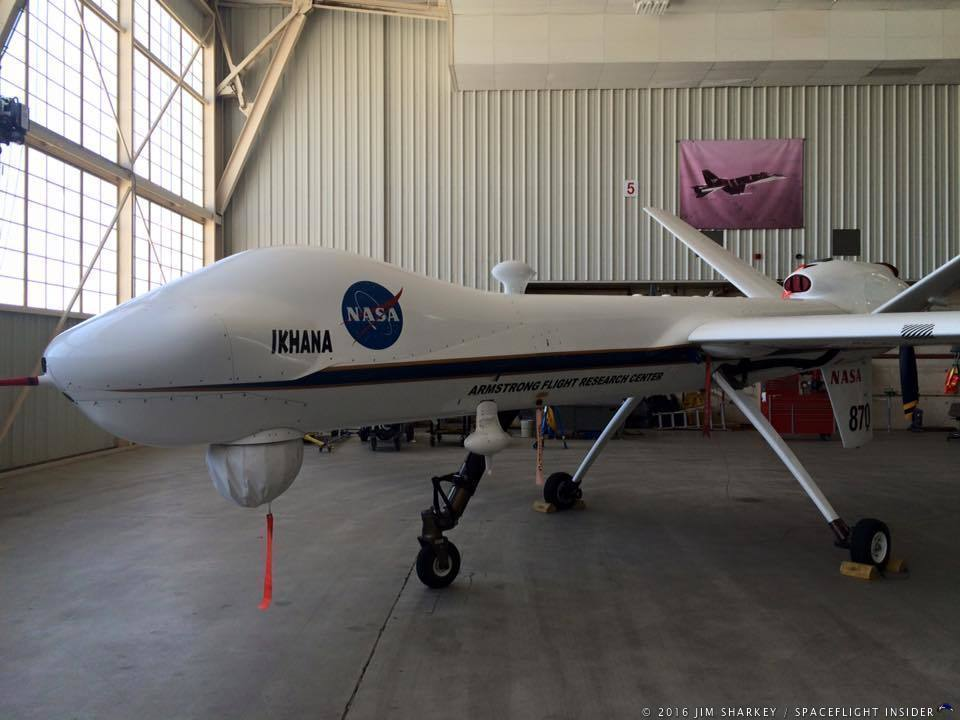 NASA's remotely piloted Ikhana aircraft is being used to test sensors that help remote pilots maintain an safe distance from other aircraft. Photo Credit: Jim Sharkey / SpaceFlight Insider