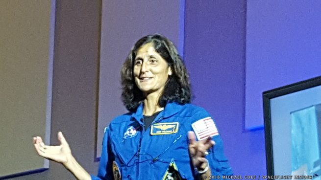 NASA astronaut Sunita Williams before her presentation about the space agency's Commercial Crew Program. Photo Credit: Michael Cole / SpaceFlight Insider