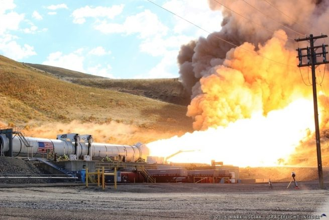 NASA and Orbital ATK successfully completed the qualification phase of the five-segment solid rocket boosters which will be used on the first flights of NASA's new super heavy-lift Space Launch System rocket which will conduct its first test flight late in 2018. Photo Credit: Mark Usciak / SpaceFlight Insider