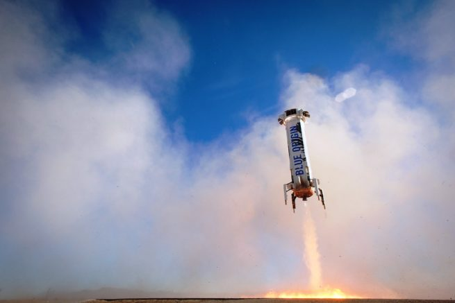 Blue Origin New Sheperd rocket touches down in the desert. Blue Origin photo posted on SpaceFlight Insider