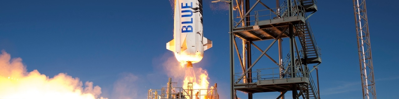 The New Shepard suborbital vehicle lifts off from Blue Origin's facility in West Texas.
