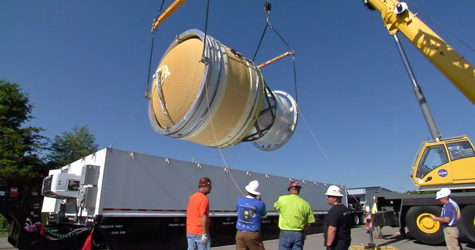 The ICPS STA is lifted from the shipping container. Credit: NASA