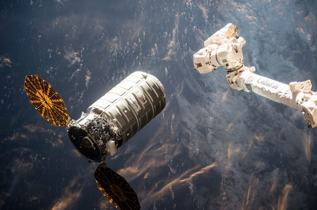 Cygnus as it approached the International Space Station March 23, 2016. Photo Credit: NASA