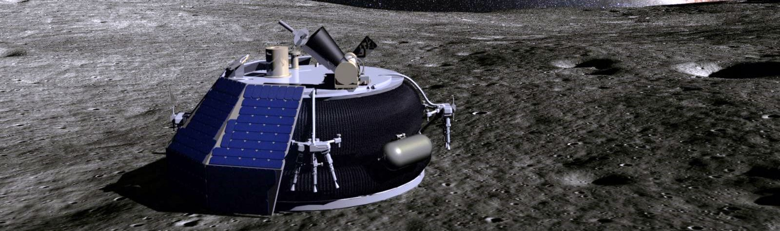 Artist's depiction of Moon Express' MX-1 spacecraft on the surface of the Moon. Image Credit: Moon Express posted on SpaceFlight Insider