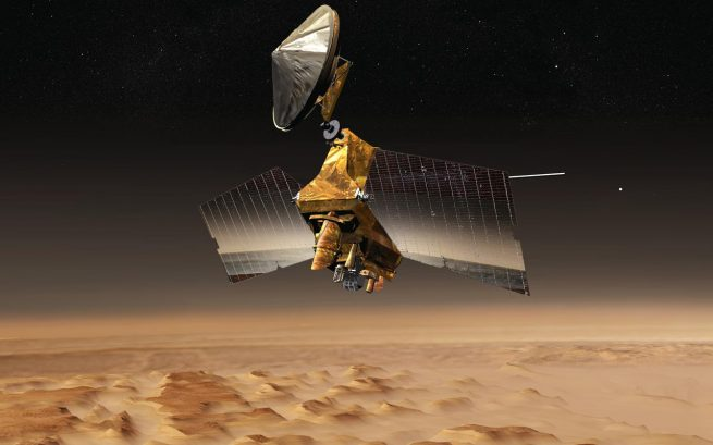 An artist's rendering of the Mars Reconnaissance Orbiter (MRO). Image Credit: NASA