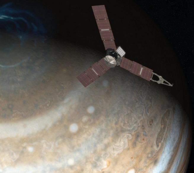 This artist's rendering shows NASA's Juno spacecraft above the north pole of Jupiter.