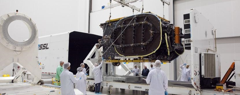 BRIsat satellite being unloaded from the shipping container on May 9.