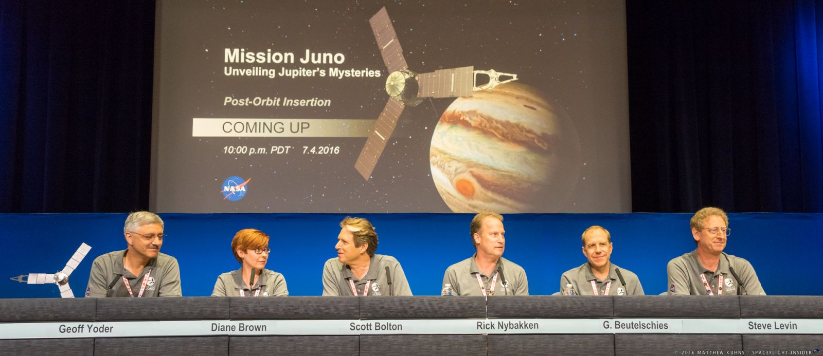 Managers for NASA's Juno mission hold a press conference to announce the spacecraft's successful insertion into orbit above Jupiter. Photo Credit: Matthew Kuhns / SpaceFlight Insider