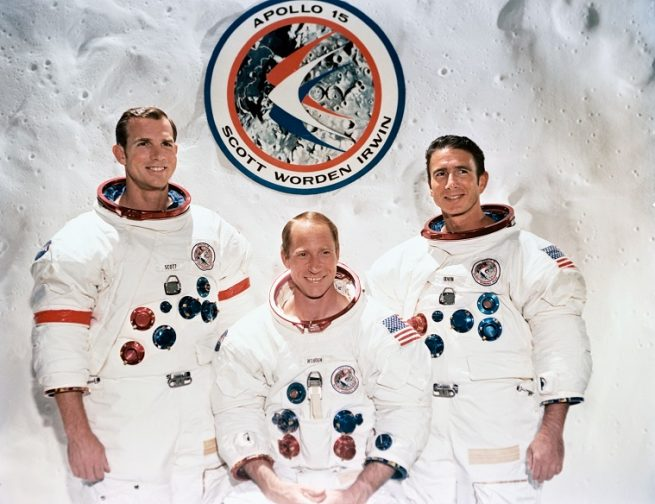 The Apollo 15 crew, Commander Dave Scott, Command Module Pilot Al Worden, and Lunar Module Pilot Jim Irwin. Photo Credit: NASA