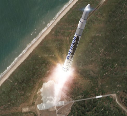 Artist's rendition of the Blue Origin orbital launch vehicle.