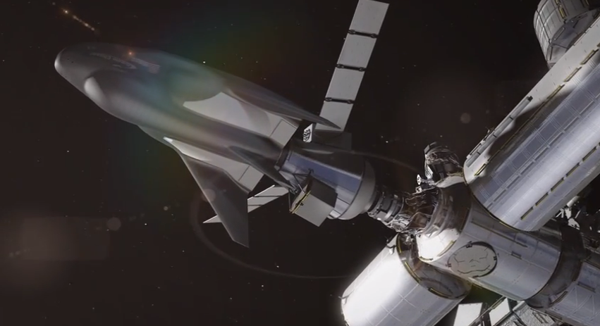 An artist's rendering of Sierra Nevada Corporation's Dream Chaser cargo vehicle docked with the International Space Station. Image credit: Sierra Nevada Corporation