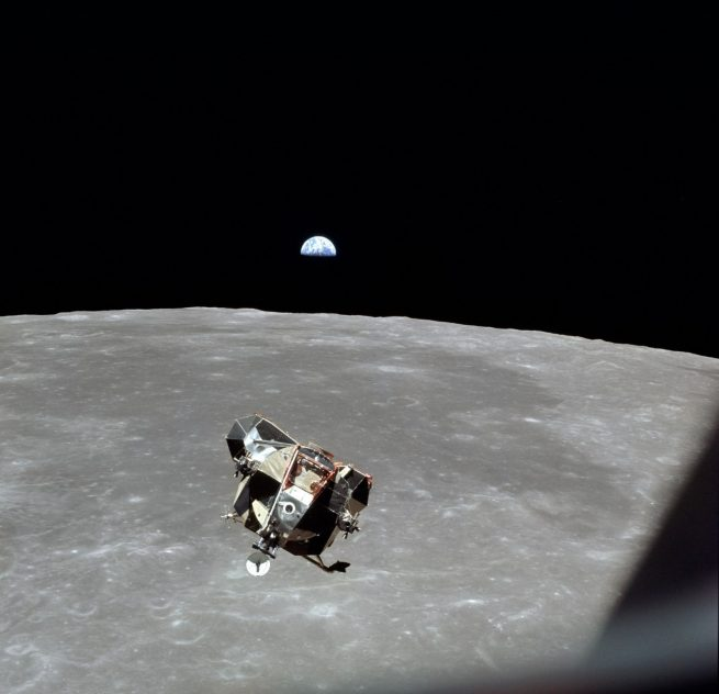 Apollo 11: The Eagle ascent stage approaches the command module Columbia for docking. Photo Credit: NASA