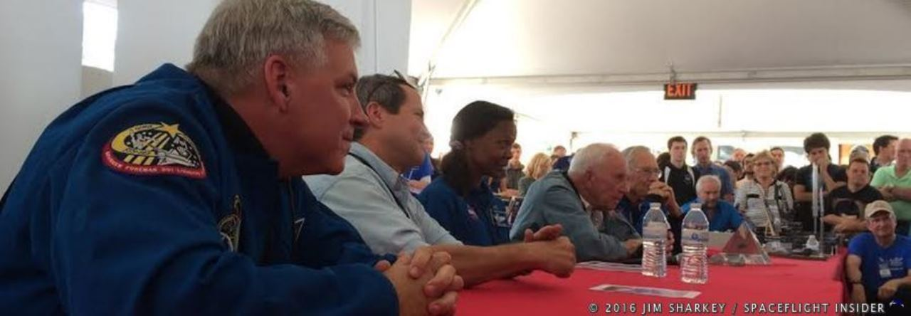 From left-to-right: astronaut Greg Johnson, Dan Bursch, Yvonne Cagel, Al Worden and Charlie Duke. Photo Credit: Jim Sharkey / SpaceFlight Insider