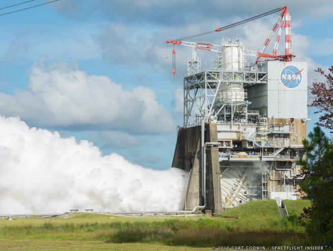 RS-25 engine № 0528 tested at NASA's Stennis Space Center (SSC) on August 18, 2018, in preparation for the SLS.