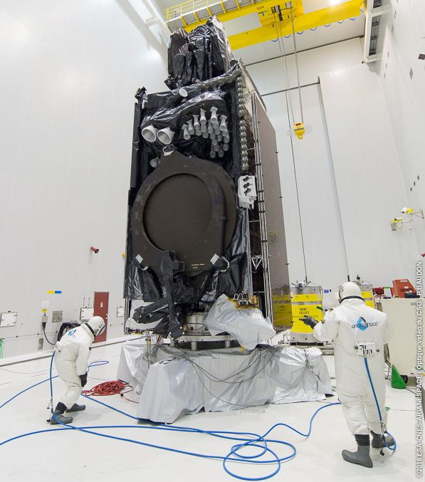 Intelsat 33e receives its propellant load during activity in the Spaceport's S5 payload preparation building.