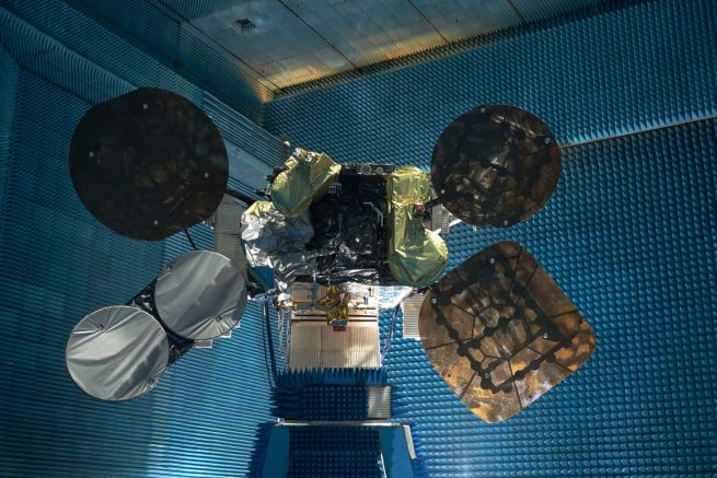 Spacecom Amos 6 satellite during final tests Spacecom photo posted on SpaceFlight Insider