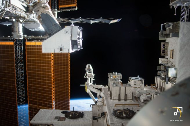 A NanoRacks External Platform aboard the ISS is used to host external payloads for that company's customers. Credit: NASA