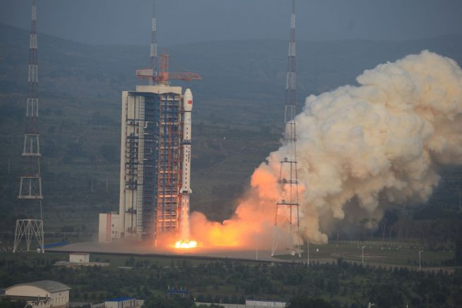 A Long March 4C rocket carrying the Gaofen-3 satellite blasts off from the Taiyuan Satellite Launch Center on Aug. 9.