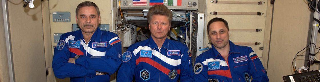Three Russian cosmonauts aboard the ISS (l-r): Mikhail Kornienko, Gennady Padalka and Anton Shkaplerov.
